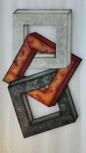 Edelstahlbild 3D rotgelb