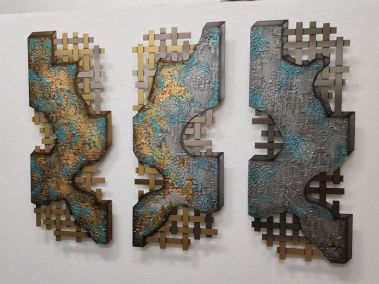 Edelstahlbild Triptychon türkisgold.jpg